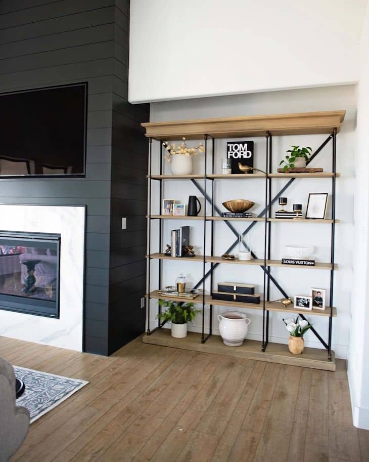 Industrial book case with wood