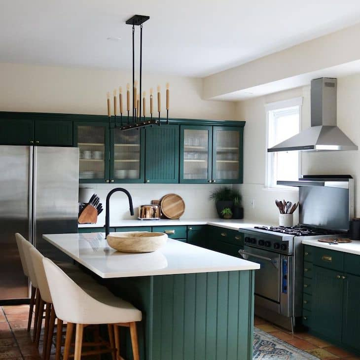 Hunter green beadboard kitchen in cottage style