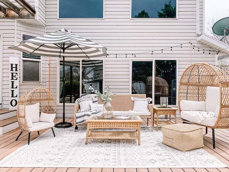 Rattan outdoor patio decor with egg chair