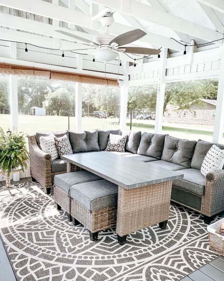 Gazebo patio decor with grey wicker outdoor set