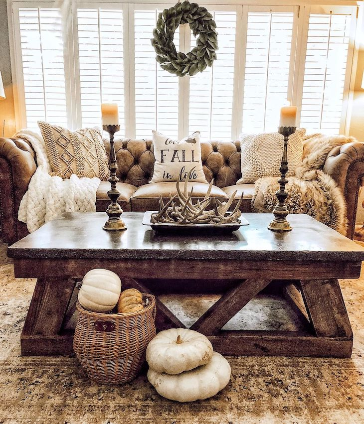 Chesterfield sofa with dark brown wood coffee table