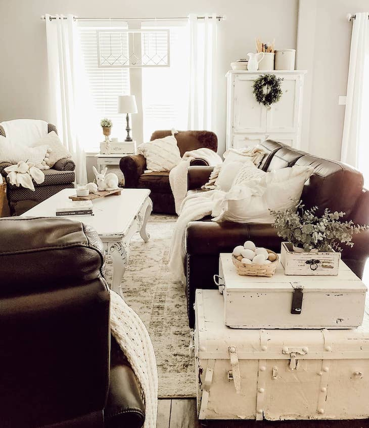 Brown and white living room with rustic coffee table
