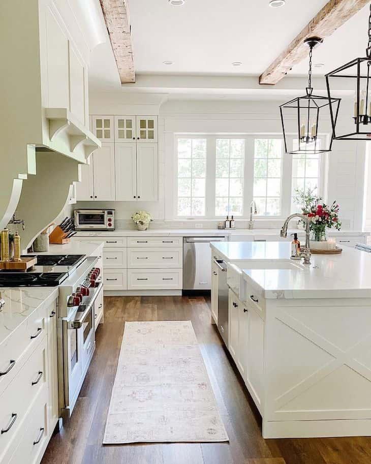 """White farmhouse kitchen in """"White dove"""" color by BM"""