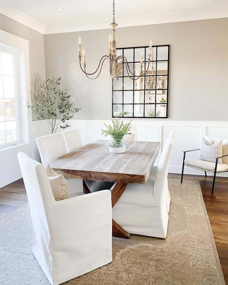 Classic dining room with wood dining table and upholstered dining chairs