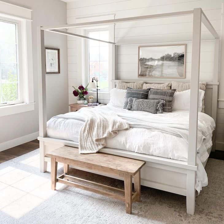 Modern farmhouse bedroom in neutral color