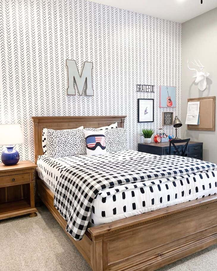 Modern farmhouse kids room with wallpaper accent wall