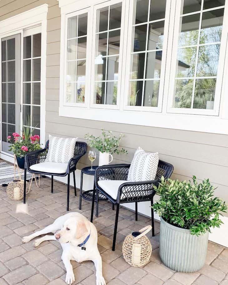 Back porch with a conversation set