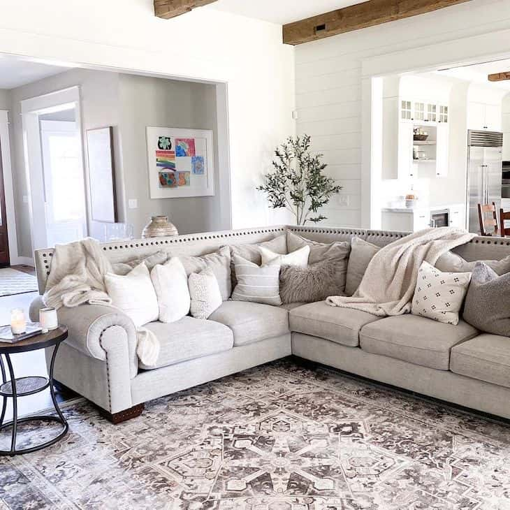 Farmhouse living room with grey sectional