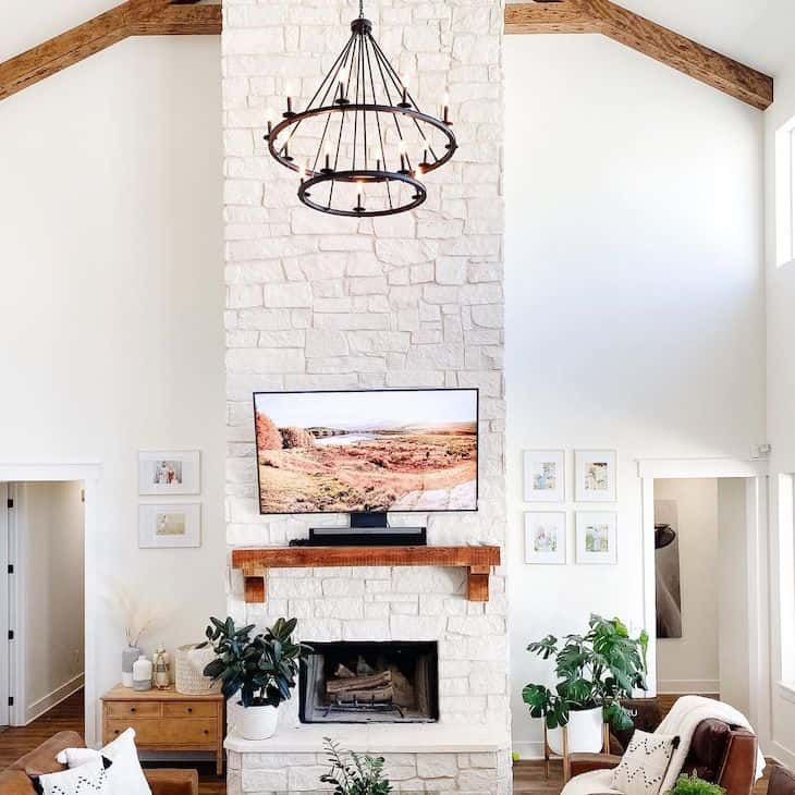 Sherwin Williams Alabaster white in a vaulted ceilings