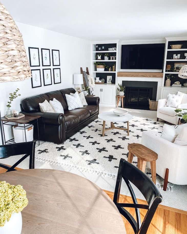 Black and white living room with Sherwin Williams Alabaster white walls