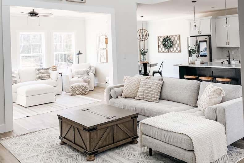 Sherwin Williams Alabaster white living room