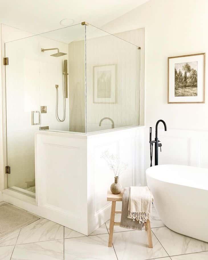White Cloe shower tile in a classic white bathroom