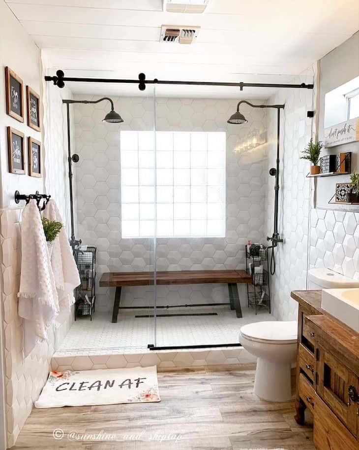 Hexagon shower tile in double shower