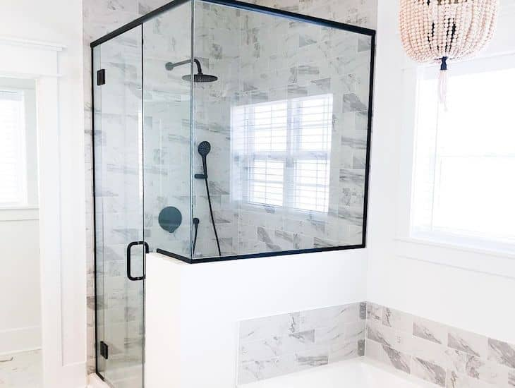 Marble subway tile for the shower