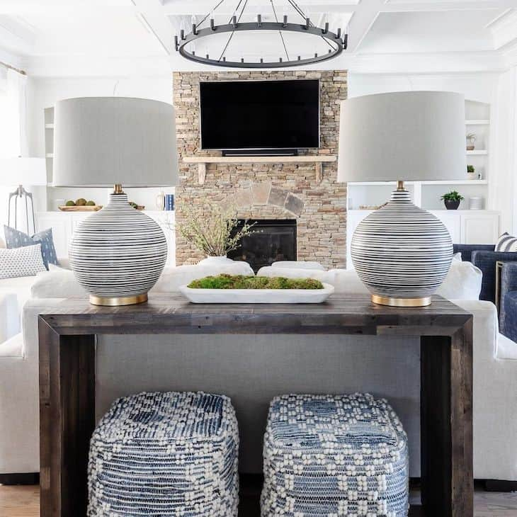 Modern sofa table with elegant decor