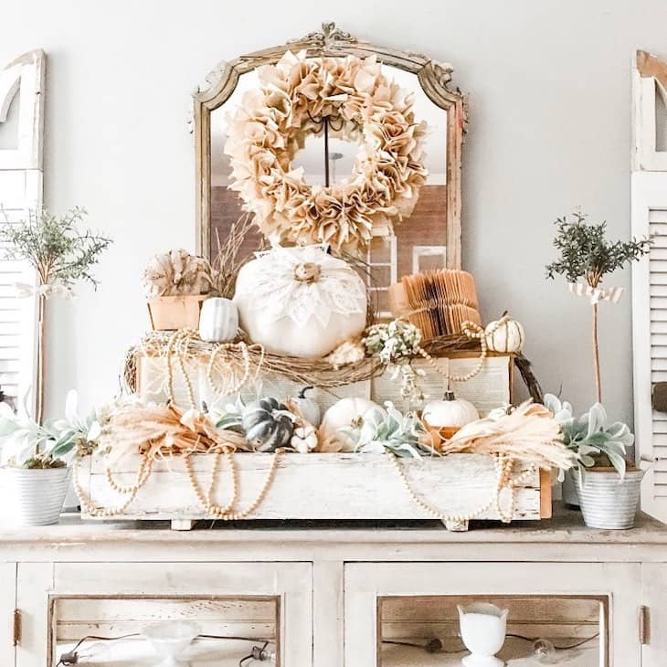 Fall arrangement on console table