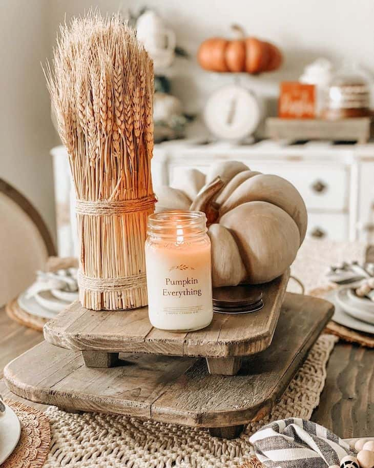 Wood tray fall decor, with pumpkin, fall candle and dried wheat