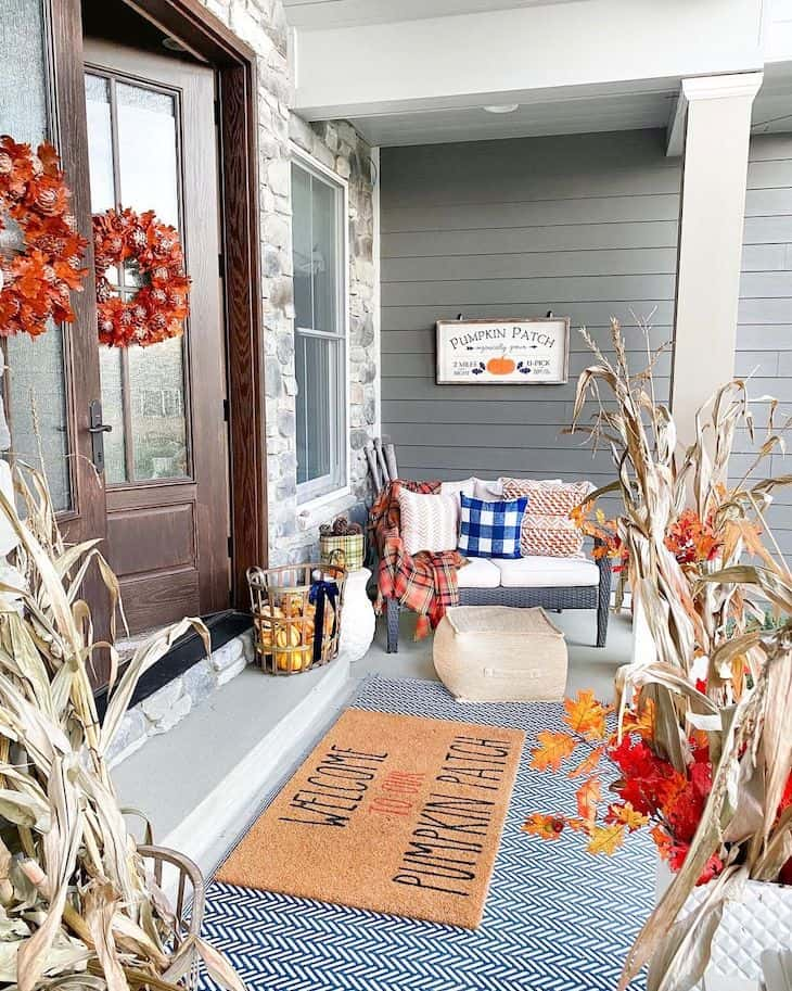 Orange and navy outdoor decor for fall