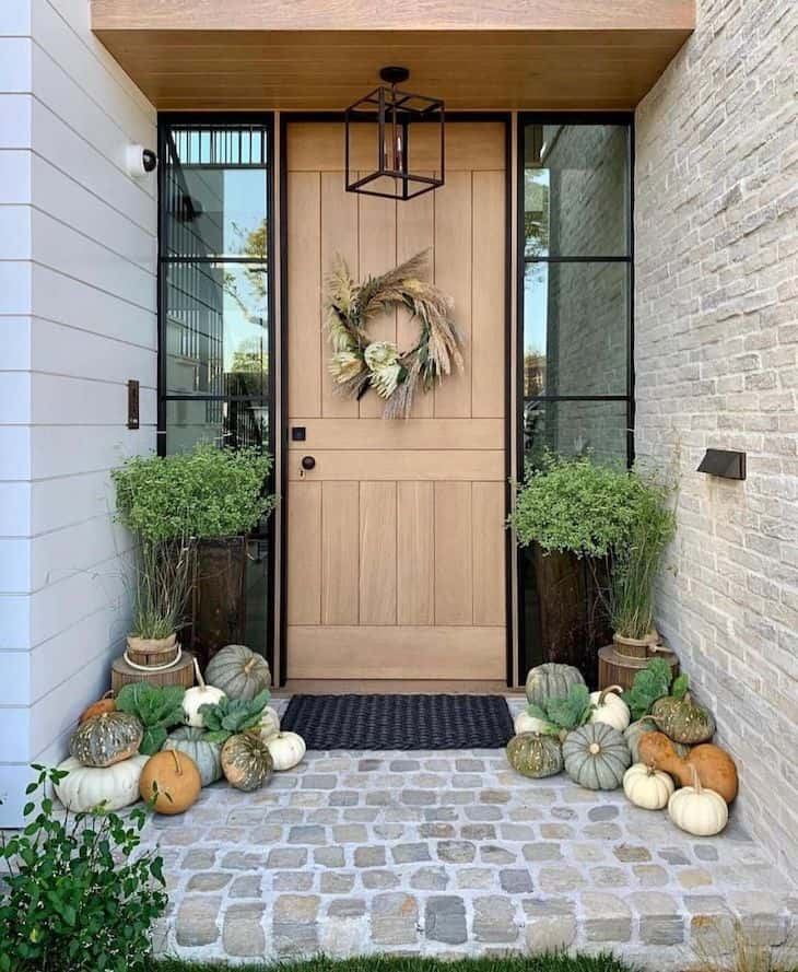 Modern entry door with fall decor
