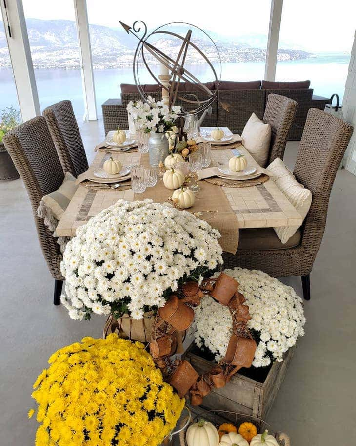 Fall tablescape for outdoor dining table