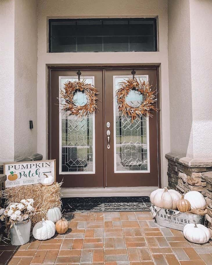 Double door with fall decor